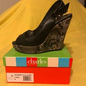 Gently worn, faux snake skin wedges